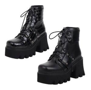 35/44 Women 8cm Heel Platform Non-slip Biker Lace Up Stone Pattern Ankle Boots L
