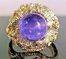 Vintage Tanzanite Cabochon Solitaire Heavy 14k yellow gold ring/band