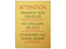 WANDSCHILD Blechschild POOL * GOLD * Schwimmbad Swimmingpool Hinweisschild