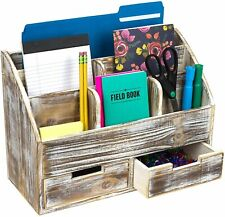 Rustic Wood Office Desk Organizer: Includes 6 Compartments and 2 Drawers (Brown)