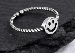 Smile 925 Sterling Silver Adjustable Band Thumb Rings Womens Girl Jewellery Gift