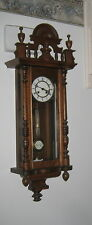 Working Antique German Spring Wind Wall Clock w/ Brass Movement