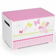 GIRLS PATCHWORK MDF TOY BOX NEW BUTTERFLIES FLOWERS PINK STORAGE KIDS BEDROOM