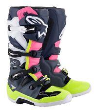 NEW 2021 Alpinestars Tech 7 MX Motocross Boots - Dark Grey/Dark Blue/Pink