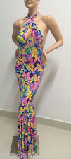 TROPICAL FLORAL PRINT LYCRA GOWN/DRESS/CROSSDRESSER/DRAG QUEEN/10-16 (Maybe 18)