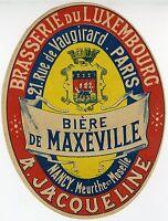 """""""BIERE DE MAXEVILLE (BRASSERIE LUXEMBOURG)"""" Etiquette-chromo originale fin1800"""