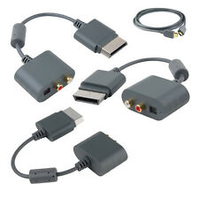 Xbox 360 Optical RCA Audio Video Adapter with 2m HDMI HD AV Cable Lead Grey New