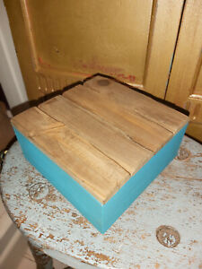 WOODEN RUSTIC INDIAN BLUE BOX  --- FREE POSTAGE