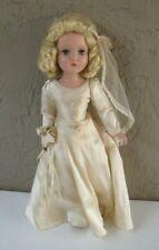 "1950's Arranbee R&B Hard Plastic Bride Doll 20"" Tall Blonde Hair"