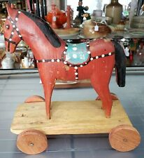 Vintage Wooden Rolling Horse Toy Made in Poland