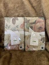2 Pottery Barn Rita Floral EURO Pillow Shams Floral Linen Blend Vintage $119 NWT