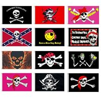 LARGE 5FT X 3FT FLAG PIRATES SKULL GOTHIC BIKERS PINK JOLLY ROGER CROSS BONES