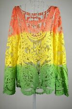 Women Sheer Sleeve Embroidery Floral Lace Crochet Tee T-Shirt Top Blouse Small