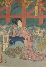 Toyokuni III pink beauty woodblock print Kunisada Edo Japanese