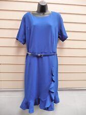 DRESS BLUE SIZE 22 KALEIDOSCOPE FRILL DETAIL SUMMER AND BELT BNWT ( G005