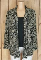 TAN JAY Womens Size Large 3/4 Sleeve Zip Front Textured Lining Geo Print Jacket