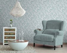 NEW Pearl & Blue With Silver Glitter, Damask Leaf Design, Wallpaper