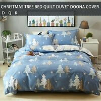 Blue Christmas Tree Duvet Doona Quilt Cover Set All Size Cotton Bed Pillowcases