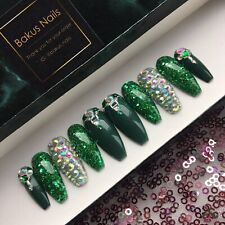 Hand Painted False Nails Green Glitter Christmas Halloween Diamond Press On Nail