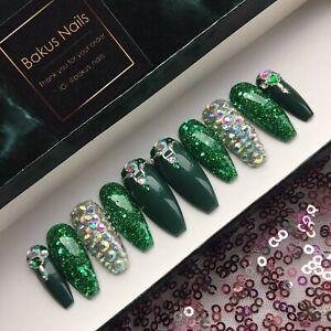 Hand Painted False Nails Green Glitter Christmas Halloween Diamond Press On Nail