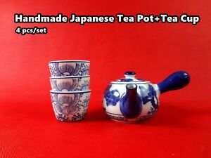 Handmade Japanese Style Classic Porcelain Tea Pot + 3 Tea Cups  Brand New