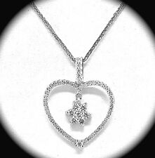 """14K WHITE GOLD AND DIAMOND HEART PENDANT AND CHAIN 16"""""""
