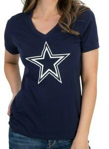 New Dallas Cowboys NFL Football Women's Premier Logo V-Neck Tee T-Shirt Top NWT
