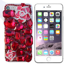 RHINESTONE BLING DIAMOND LUXURY DECO 3D FOR IPHONE 7 CASE RED ROSE #LCR001