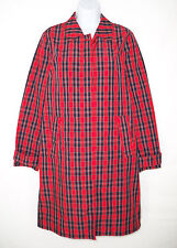 NEW J. Crew Collection 2 Red Plaid Trench Coat Raincoat Nylon Crisp Unlined