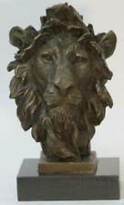 Art Deco African Lion Bust Wildlife Bronze Sculpture Statue Home Decoration Deco