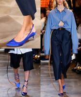 New Manolo Blahnik X Vetements Blue Slingback Kitten Heel Pump 37EU/7US $1585.00