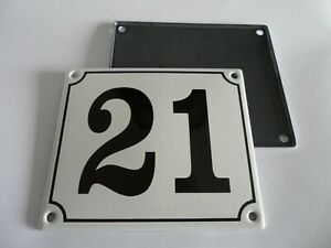 Old German White Enamel Porcelain Metal House Door Number Street Sign / Plate 21