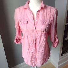 GAP Womens S Light Pink Shirt Top Button Down Blouse Cotton Pockets Casual Small