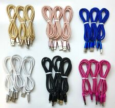 3Pack 3Ft For iPhone 5 6 7 Plus 8 X USB Charger Nylon Cable Data SYNC Cord