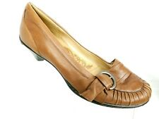 Sofft Womens 8M Light Brown Leather Buckle Slip On Loafers Comfort Heels Pumps