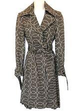 L.A.M.B. Boudoir Gwen Stefani Sz 2 S Harlow Circle Print Taupe Ruffle Rain Coat