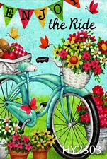 Flores De Primavera Mariposa Bicicleta Banderas de jardín al aire libre vacaciones césped Yard Banner
