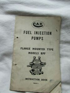 @CAV Fuel Injection Pumps Flange Mounted Type Models BPF Instruction Book@