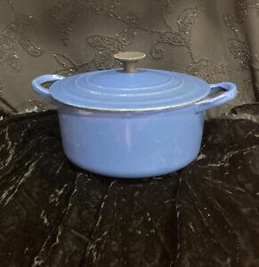 LE CREUSET 'A' Dutch Oven Blue Cast Iron FRANCE