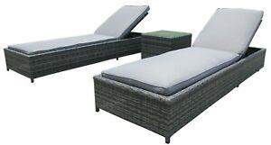 Patio Rattan Single Sun Lounger Chaise Garden Pool Wicker Recliner 3pcs Sunbed