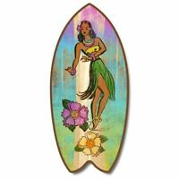 SurfBoard Surfing Colorful Hula Dancer Woman Large Nautical, Beach Wood Sign