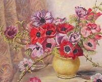 Vintage Edith Baxter Original Oil Painting - Anemones Flowers Still Life