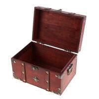 Antique Vintage Wooden Treasure Chest Jewelry Decorative Storage Box B