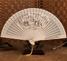 Chinese Traditional Hollow Fan Wooden Hand Made Exquisite Folding Weddin 00004000 g Gift