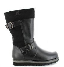 Ella Shoes Willow Faux Leather Fur Vegan Boots Mid Calf Winter Zip Black L88