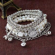 Fashion Women's Lady Jewelry Pearl Chain Multilayer Pendant Bangle Bracelet Gift