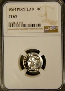 1964 Pointed 9 10c Silver Proof Roosevelt Dime NGC PF 69 (016)