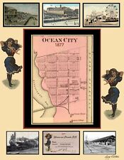 Ocean City Md Poster 1877 Map, Post Cards & Railroad Pass makeup Poster
