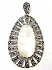 Large MOTHER OF PEARL PENDANT w/ Vintage Marcasite Stones .925 STERLING SILVER