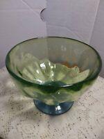 Vintage Art Glass Hand-Blown Glass Green & Blue Candy Dish / Display Piece.